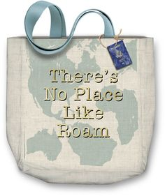 """""""There's No Place Like Roam"""" Canvas Tote Bag by Molly & Rex Cotton canvas tote bag features coordinating woven handle and matching hang tag attached with jute cord features metallic printing Bag size: x x Window Envelopes, Woven Scarves, Hang Tags, Canvas Tote Bags, Jute, Cotton Canvas, Cord, Metallic, Reusable Tote Bags"""