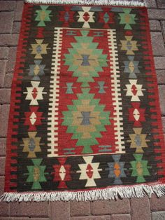 """Turkish Anatolian Kilim Rug Vegitable and Natural Color Wool on Wool 50 by 33,8"""" inches (127cm by 86cm)"""