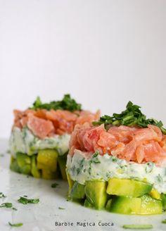 (finta) tartare di salmone, ogni strato un colore e due ingredienti base!
