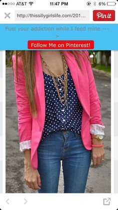 Bright pink blazer must have