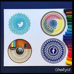 Wich one is your favorite!?? Social mandalas by @cfnatycf Tag your friends#dailyart