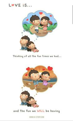 cute love cartoons Love is Thinking of Good Time - HJ-Story
