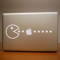 "Pac-Man eating an ""Apple"" -- MacBook going retro chic! Macbook Stickers, Macbook Decal, Macbook Case, Laptop Decal, Mac Laptop, Macbook Pro, Mac Decals, Vinyl Decals, Apple Laptop"