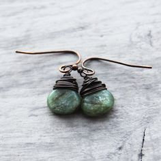 Light Green Earrings Kyanite Gemstone Earrings by starletta, $28.00