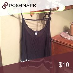 Tank Crop Top Black with white lace on bottom. No tag, would fit XS best Tops Tank Tops