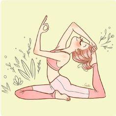 Illustration by Cacotte - Wellness & Yoga freelance illustrator in Paris Yoga Meditation, Namaste, Karma Yoga, Yoga Cartoon, Yoga Drawing, Drawing Art, Yoga Stretches For Beginners, Beginner Yoga, King Pigeon