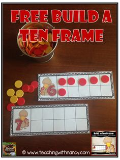Free ten frame math station activity for prek or kindergarten.