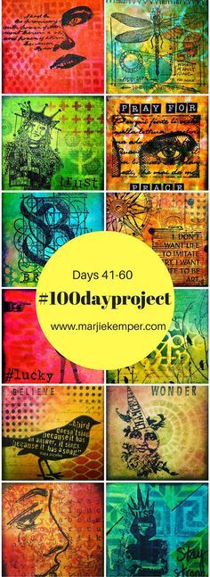 #100dayproject Marjie Kemper Days 41-60 - art journaling techniques on small squares, inchies and twinchies