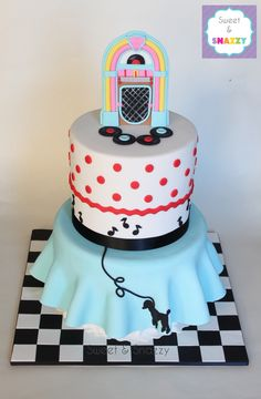 1950's Diner / Sock Hop Cake by Sweet Snazzy https://www.facebook.com/sweetandsnazzy