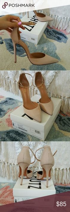 Schutz Irma ankle strap pump size 9.5B Beautiful nude suede pumps with a 3.5 inch heel. Worn only once. Looks brand new other than scuffing on soles! SCHUTZ Shoes Heels