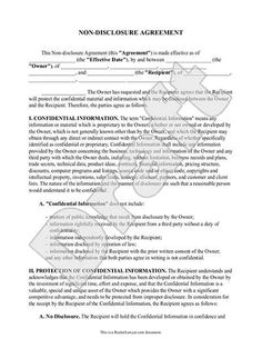 Confidentiality Agreement Documents  Business