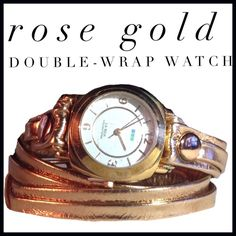 Rose-Gold Tone Leather Double Wrap Watch