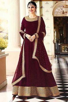 #designer #Long #Dresses 2018 - Delightful Georgette Designer Bollywood Anarkali Suits in Wine लिबास Photograph लिबास PHOTOGRAPH | IN.PINTEREST.COM WHATSAPP EDUCRATSWEB