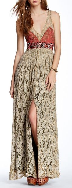Crushed Gold Lace Party Dress