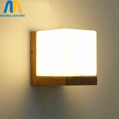 39.05$  Watch now  - Modern Wood Glass Wall light Fixture up down lamp for hallway livingroom bedroom home lighting