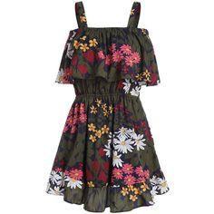 Flounce Floral Summer Dress (86 RON) via Polyvore featuring dresses, floral dresses, floral printed dress, flower printed dress, mixed print dress and floral design dresses