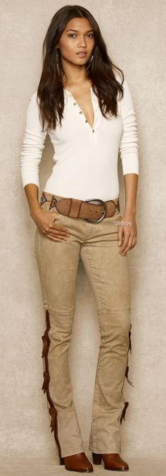 Ralph Lauren - Blue Label - Tooled Leather-Trimmed Jean