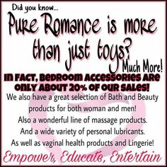 Pure Romance is more than just Toys!💋 I love showing women everything I have to offer in beauty, bath, massage, foreplay, sexual health and yes. the things that buzz! What Is Pure Romance, Pure Romance Games, Pure Romance Party, Pure Romance Consultant, Passion Parties, Foreplay, Host A Party, Romance Novels, Romance Quotes