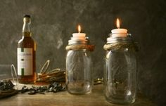 Pair of Mason Jar Candle Holders Rustic Wedding Decor Glass Lighting Shabby Chic Lighting - Rustic Rope Design for $35.00 at etsy.com by Pamela333