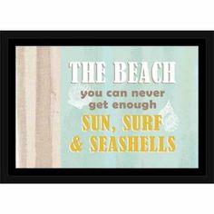 Never Enough Beach Shells & Burlap Coastal Typography Blue & Tan, Framed Canvas Art by Pied Piper Creative