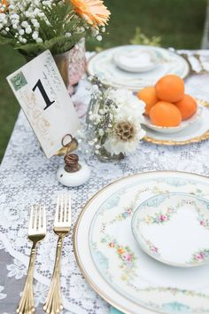 Summer vintage table setting- wedding ore event- pink gold teal- Styling by Laurel Avenue - Rentals by Southern Vintage - Flowers by Jeanne Brock - Photography by Johna Griswell