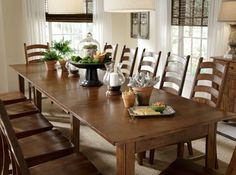 Our Toluca Dining Set is a large dining set that seats crowds up to 12 at the same table!  Host holiday dinners at your home with confidence, because with Toluca, there's always room for one more.  Available at Just Cabinets Furniture & More and online at JustCabinets.com