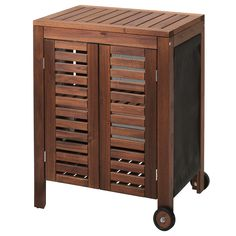 ÄPPLARÖ / KLASEN Charcoal grill with cart & cabinet, brown stained, stainless steel color - IKEA Outdoor Shelves, Outdoor Storage, Ikea Outdoor, Outdoor Rooms, Acacia, Teak, Wood Supply, Ikea Family, Grill Accessories