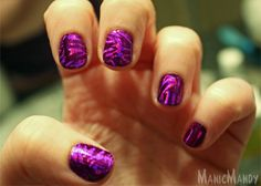 Purple holographic foiled nails! These were so much fun to wear. It takes some practice to get the hang of foiling down but once you do, you can create some amazing nail effects. Click to the link for more detailed instructions on how to get this look and products used. ~ManicMandy
