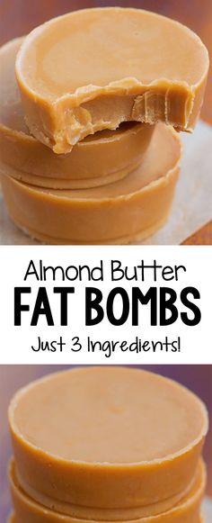 Eating Keto Low Carb Almond Butter Fat Bombs that are keto (ketogenic), vegan, gluten free, and they can be sugar free Keto Vegan, Vegan Keto Recipes, Ketogenic Recipes, Low Carb Recipes, Ketogenic Diet, Coconut Oil Recipes Keto, Fat Free Recipes, Ketogenic Cookbook, Vegan Raw