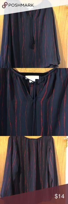 MK sheer blouse Michael Kors sheer navy blouse with tie. Never worn Michael Kors Tops Blouses