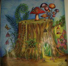 Tree Trunk. Enchanted Forest. Tronco. Floresta Encantada. Johanna Basford.