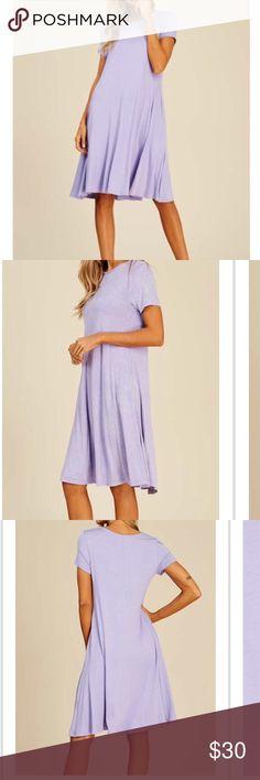 "Short sleeve midi dress Lavender purple short sleeve dress.  Swingy stretchy material- has pockets! Length 39"".  Small fits 0-4, medium 4-8, large 8-12 Annabelle Dresses Midi"