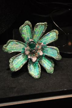 Wallace Chan Titanium Brooch. Opal, Diamond, Emerald.
