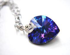 Blue Ocean Heart Necklace deep blue swarovski heart with elegant zirconia in a heart chain. $24.99, via Etsy.