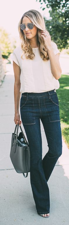 Flared Jeans white top. women fashion outfit clothing style apparel @roressclothes closet ideas