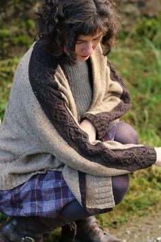 Open front cardigan knitting pattern with cable details. Cosy Puzzle by Carol Feller knit in The Fibre Co. Arranmore Light
