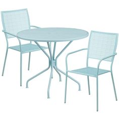Westbury Round 35.25'' Sky Blue Steel Table Set w/2 Square Back Chairs for Restaurant/Bar/Pub/Patio, Size 3-Piece Sets, Patio Furniture