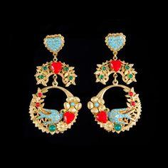 Askew London Spectacular Red Heart Swallow Pierced Earrings | Alexandra May Jewellery