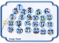 24 Button Adventskalender blau von Jasuki auf DaWanda.com