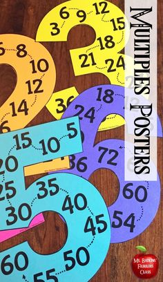 Hang these posters for your students to use as a quick reference during math. They are the perfect tool for students to work on their fluency of their multiplication facts, least common multiples or skip counting. These are black and white, print on brigh Elementary Math, Kindergarten Math, Teaching Math, Preschool, Math Teacher, Fourth Grade Math, Second Grade Math, Math For Kids, Fun Math