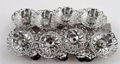 8 Silver Metal Pinecone & Fancy Filigree Christmas Tree Candle Holder Clips #Unbranded
