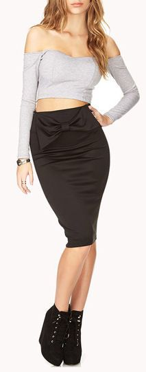 Over Sized Bow Midi Pencil Skirt