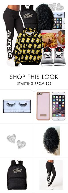 """""""Bart Simpson inspired"""" by copperperro on Polyvore featuring Huda Beauty, Ted Baker, Vivienne Westwood, Vans, adidas Originals and WithChic"""