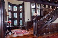 Old World Tudor manor bannister dark wood wainscot