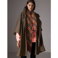 Burberry Showerproof Oversized Parka Cape ($935) ❤ liked on Polyvore featuring outerwear, brown cape coat, burberry parka, cape coats, brown parka and brown cape