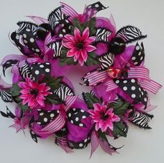 Hot Pink Metallic Deco Mesh Wreath features by WredWrockWreaths, $55.00