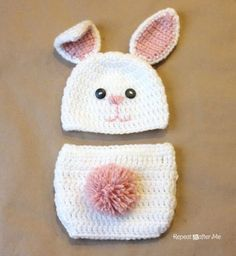 Crochet Fuzzy Baby Bunny Outfit. You need to made this to!