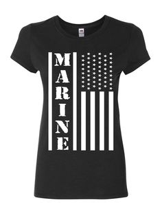 93c74511 Marine Flag Military Women's T-Shirt Patriot Stars & Stripes POW MIA Shirt