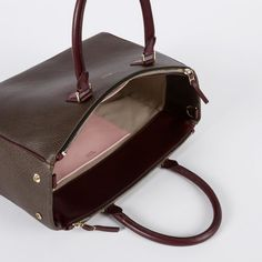 Leather double zip tote bag