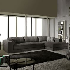 Minerale Modern Italian Corner Sofa in dark grey fabric